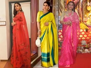 Alia Bhatt Kajol Rani Mukerji In Saris For Durga Puja