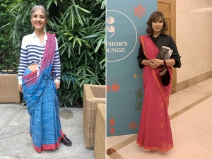 Anuja Chauhan And Lisa Ray In Saris At Bangalore Lit Fest