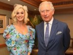 Katy Perry In A Blue Floral Dress At The British Asian Trust Event