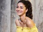 Pati Patni Aur Woh Actress Ananya Panday In A Yellow Off Shoulder Mini Dress