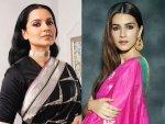 Kriti Sanon In A Pink Silk Sari And Kangana Ranaut In An Embellished Black Vintage Sari