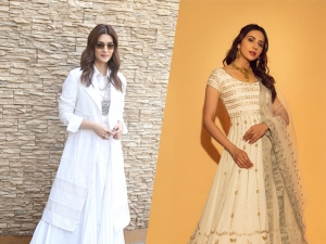 Kriti Sanon And Rakul Preet Singh In Ivory Outfits