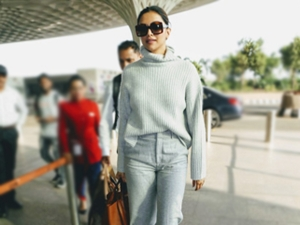 Deepika Padukone In Grey Head To Toe Casuals At The Airport