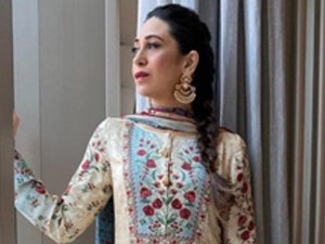 Karisma Kapoor In A Floral Anita Dongre Suit For An Event