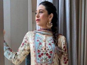 Karisma Kapoor Ups Her Ethnic Quotient With A Floral Anita Dongre Suit