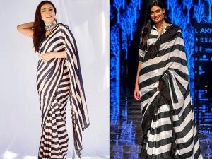 Kajol And Athiya Shetty In Black And White Striped Saris