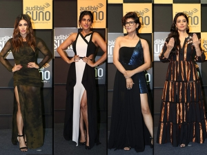 Mouni Roy Kubbra Sait Tahira Kashyap And Tabu S Outfits At The Audible Suno Event