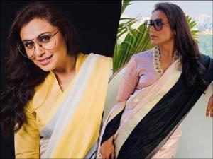 Rani Mukerji In Colour Blocked Raw Mango Saris For Mardaani