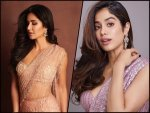 Katrina Kaif In A Peach Embellished Sari And Janhvi Kapoor In A Purple Sequin Sari