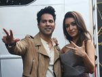 Shraddha Kapoor In A Silver Dress And Varun Dhawan In Beige Jacket For Street Dancer Promotions
