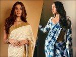 Sonakshi Sinha In A Blue White Checkered Sari And Tara Sutaria In An Ivory Sari