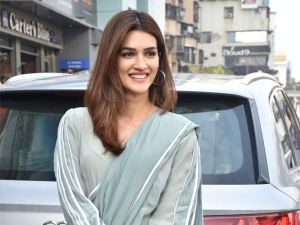 Panipat Actress Kriti Sanon In A Sari And Sports Shoes