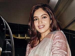 Bhumi Pednekar In A Multi Hued Linen Sari To Announce Her Next Film Durgavati