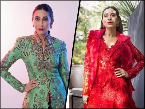 Karisma Kapoor In Light Green Ethnic Attire And Red Western Dress