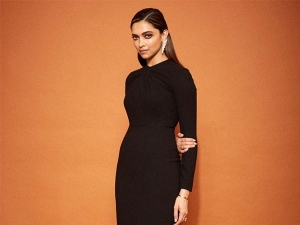 Deepika Padukone In A Black Midi Dress At The Trailer Launch Of Chhapaak