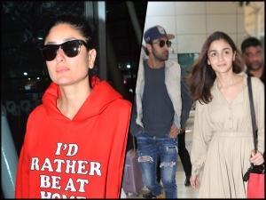 Kareena Kapoor Khan In A Red Hoodie And Alia Bhatt In Neutral Toned Ensemble At Airport