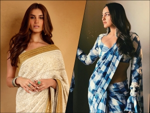Sonakshi Sinha In A Blue White Checkered Sari And Tara Sutaria In An Ivory Sari