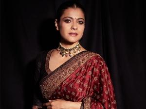 Kajol In A Black And Burgundy Embroidered Sari For Tanhaji Promotions
