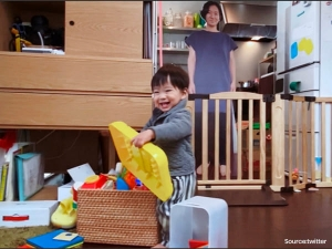 Japanese Toddler Is Kept Calm Using Life Sized Cutouts Of His Mother