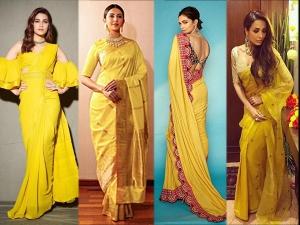 Deepika Padukone Malaika Arora Yellow Saris For Ratha Saptami