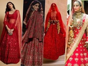 Red Lehenga Goals By Sonam Kapoor Priyanka Chopra Genelia Deshmukh Athiya Shetty