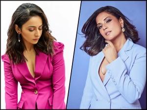Richa Chadha And Rakul Preet Singh In Sky Blue And Hot Pink Pantsuits