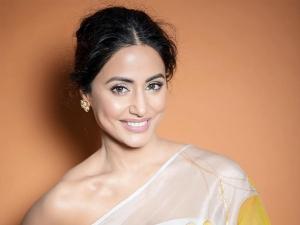 Hina Khan Stuns In An Ivory Printed Sari At The Lions Gold Awards
