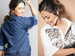 Hacked Actress Hina Khan In Denim Separates And Printed Shirt Frill Skirt