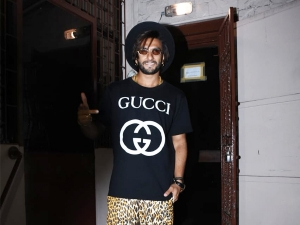 Ranveer Singh In Gucci Tee And Leopard Pants