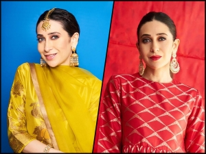 Karisma Kapoor In Red And Yellow Outfits For Armaan Jain S Pre Wedding Functions