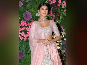 Tara Sutaria In A Pink Lehenga At Armaan Jain Wedding