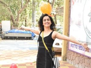 Badhaai Ho Actress Sanya Malhotra In Black Dress For A Fitness Studio Launch