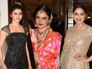 Madhuri Dixit Rekha And Urvashi Rautela At Wedding Reception