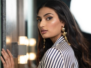 Motichoor Chaknachoor Actress Athiya Shetty In A Striped Pantsuit