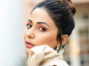 Hacked Actress Hina Khan In A Dramatic Grey Suit