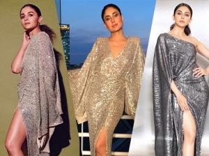 Alia Bhatt Kareena Kapoor And Rakul Preet Singh In Silver Gowns