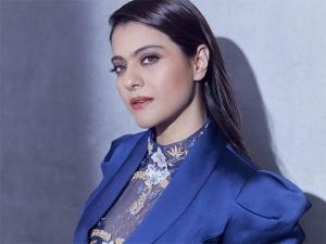 Kajol In A Blue Pantsuit For Devi Promotions In Kapil Sharma Show