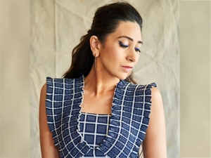 Karisma Kapoor In A Blue Checkered Dress For Mentalhood Promotions