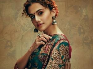 Thappad Actress Taapsee Pannu In A Bluish Green Saree