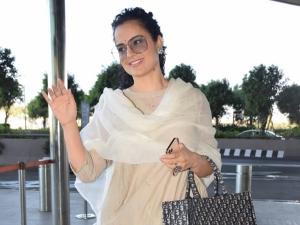 Thalaivi Actress Kangana Ranaut In Nude Hued Ethnic Suit At Airport