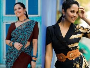 Kathanam Actress Anasuya Bharadwaj In A Midi Dress And Saree