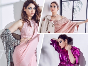 Tamannah Bhatia In Intense Blue Eyeshadow Look For A Magazine Cover