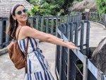 Ghost Actress Sanaya Irani In A Blue Striped Dress