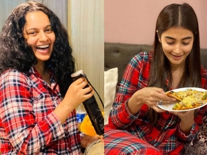 Kangana Ranaut And Pooja Hegde S Quarantine Pictures In Red Checkered Attire
