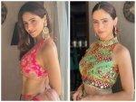 Aamna Sharif Aka Komolika In A Pink Lehenga And Green Crop Top Skirt