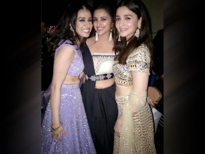 Alia Bhatt Shraddha Kapoor Parineeti Chopra In Lehengas At Akash Ambani Pre Wedding Ceremony