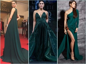 Deepika Padukone Kareena Kapoor Khan And Nushrat Bharucha In Dark Green Gowns
