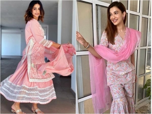 Hina Khan Gauahar Khan In Pink Outfits For Eid Ul Fitr