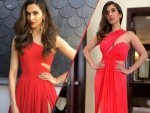 Sophie Choudry And Deepika Padukone In One Shoulder Red Gown