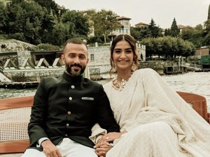 Sonam Kapoor And Anand Ahuja In Colour Co Ordinated Outfits